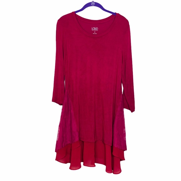 LOGO Burgundy Lace HemTunic Long Sleeve Tunic